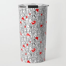 Elios Shirt Faces with Valentine Hearts in Black Outlines with Red Hearts Travel Mug
