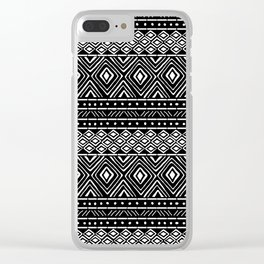 African Tribal Mudcloth // Black Clear iPhone Case