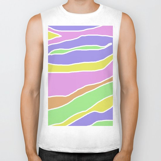 Pastel Current - Pink, blue, yellow and green pastel abstract painting Biker Tank