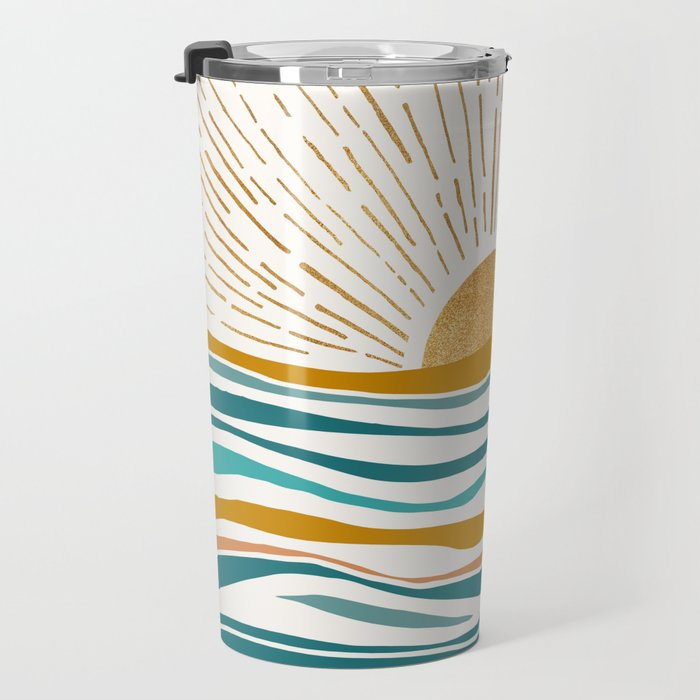 The Sun and The Sea - Gold and Teal Travel Mug