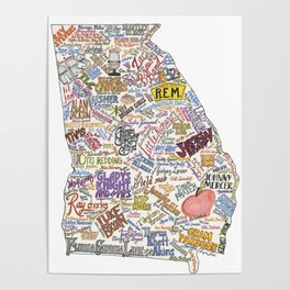 Georgia Music Map Poster