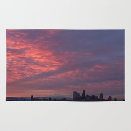 Downtown Seattle and Mt Rainier at Sunrise Rug