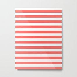 Narrow Horizontal Stripes - White and Pastel Red Metal Print