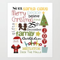 Christmas Subway Art Art Print