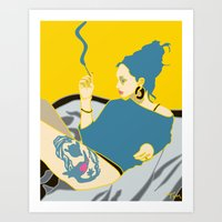 smoking Art Prints featuring Smoking by YTRKMR