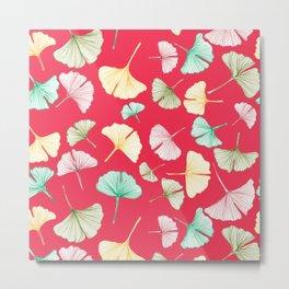 Gingko Leaves on Red Metal Print