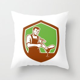 Shoemaker With Hammer Shoe Shield Retro Throw Pillow