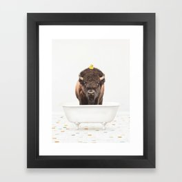 Buffalo with Rubber Ducky in Vintage Bathtub Framed Art Print