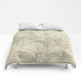 Vintage Map of Jerusalem Israel (1917) Comforters