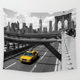 Yellow Cab on Brooklyn Bridge Wall Tapestry