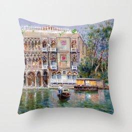 Palazzo Santa Sofia, Grand Canal, Venice Italy Landscape by Antonio Reyna Manescau Throw Pillow