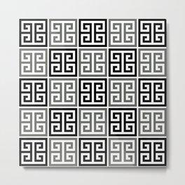 Gray Black And White Greek Key Pattern Metal Print