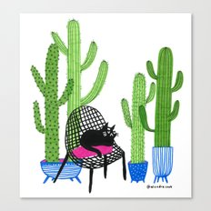 Cactus Cat Canvas Print