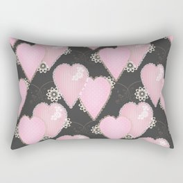 Retro Applique. Textile pink hearts on grey background . Patchwork Valentines Day Rectangular Pillow