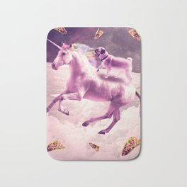 Space Pug Riding On Flying Unicorn With Taco Bath Mat