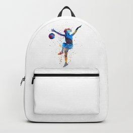 Woman soccer player 12 in watercolor Backpack
