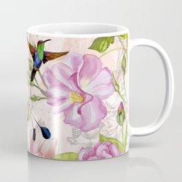 Vintage Roses and Hummingbird Pattern Coffee Mug