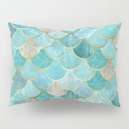 Moroccan Mermaid Fish Scale Pattern, Aqua,Teal Pillow Sham