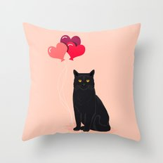 Black Cat Love balloons valentine gifts for cat lady cat people gifts ideas funny cat themed gifts Throw Pillow