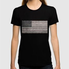 US flag in desaturated grunge T-shirt
