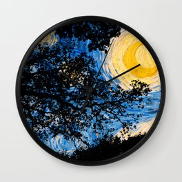 Starry Forest Night Wall Clock