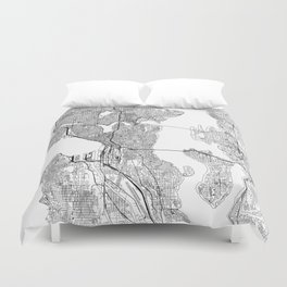 Seattle White Map Duvet Cover