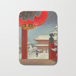 Tsuchiya Koitsu A Winter Day at The Temple Asakusa Vintage Japanese Woodblock Print Bath Mat