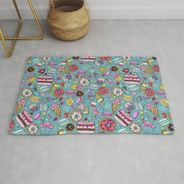 Pattern with candy, ice cream, candy, donuts, cupcake, macaroons and other sweets Rug