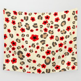 Romantic Leopard Print Pattern with Red Flowers Wall Tapestry