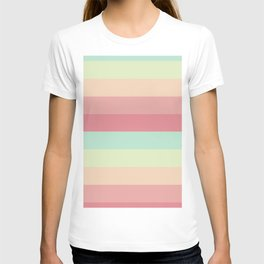 Summer pastel colours geometric horizontal lines pattern for home decoration T-shirt
