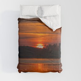 Beautiful Sunset with Strong Orange Color #decor #society6 #buyart Comforters