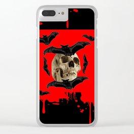 BAT INFESTED HAUNTED SKULL ON BLEEDING HALLOWEEN ART Clear iPhone Case