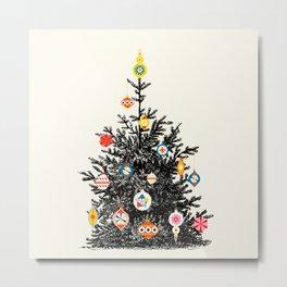 Retro Decorated Christmas Tree Metal Print