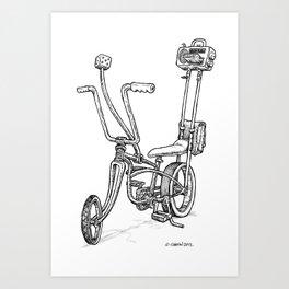 Cartoon Retro Mod Stingray 8-Track Muscle Bike Bicycle Stingray Art Print