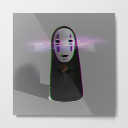Glitched No Face Metal Print