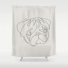 One Line Pug Shower Curtain