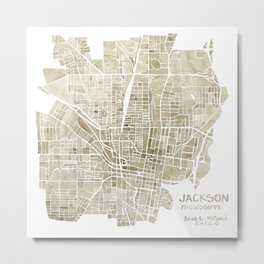 Jackson Mississippi watercolor city map Metal Print