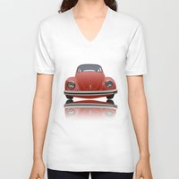 vw V-neck T-shirts featuring VW Beetle by Nove Studio