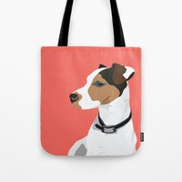 jack russell Tote Bags featuring Dog - Jack Russell by bluebutton studio