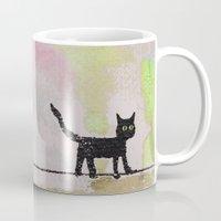black cat Mugs featuring Black Cat by Brontosaurus
