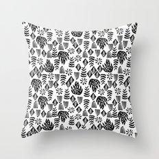 Tropical linocut tribal island pattern scandinavian art print black and white minimal Throw Pillow