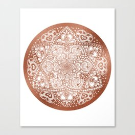 Rose Gold Floral Mandala Canvas Print