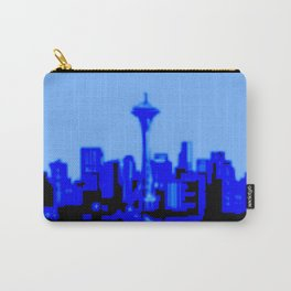 Pixilated/Blurred Seattle Skyline - blue Carry-All Pouch