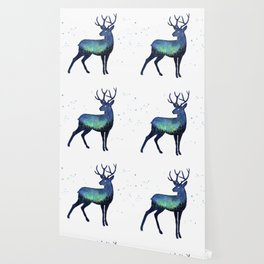 Galaxy Reindeer Silhouette with Northern Lights Wallpaper
