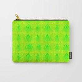 Pearlescent pattern of lime hearts and stripes on a green background. Carry-All Pouch