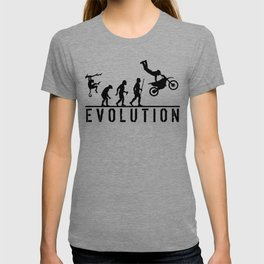 The Evolution Of Man And Dirtbike Stunt Riding T-shirt