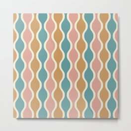 Ogee Pattern 738 Beige Dusty Rose and Turquoise Metal Print