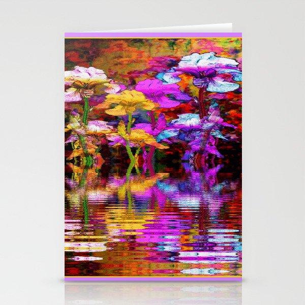 PURPLE-WHITE IRIS  WATER GARDEN  REFLECTION Stationery Cards
