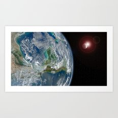 earth, moon and sun Art Print