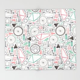 Cycling Bike Parts Throw Blanket